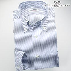 国産オリジナル長袖ドレスシャツ ボタンダウンカラー ブルーストライプシャンブレーオックスフォード アメリカン・トラッド