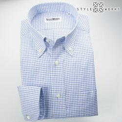 国産オリジナル長袖ドレスシャツ ボタンダウンカラー スカイブルーグラフチェックシャンブレーオックスフォード アメリカン・トラッド