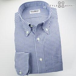 国産オリジナル長袖ドレスシャツ ボタンダウンカラー ブルーシェパードチェックシャンブレーオックスフォード アメリカントラッド