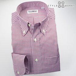 国産オリジナル長袖ドレスシャツ ボタンダウンカラー レッドシェパードチェックシャンブレーオックスフォード アメリカントラッド