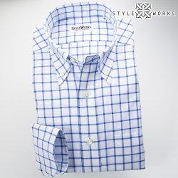 国産オリジナル長袖ドレスシャツ ボタンダウンカラー ブルーグラフチェック・シャンブレーオックスフォード アメリカントラッド