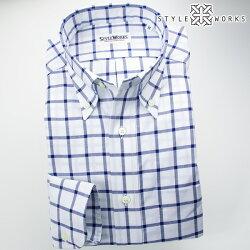 国産オリジナル長袖ドレスシャツ ボタンダウンカラー ネイビーウィンドウチェック・シャンブレーオックスフォード アメリカントラッッド