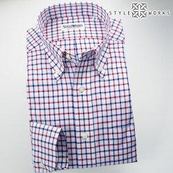 国産オリジナル長袖ドレスシャツ ボタンダウンカラー トリコロールタッターソールチェック・シャンブレーオックスフォード