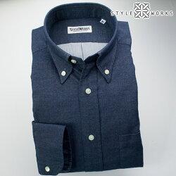 国産オリジナル長袖ドレスシャツ ボタンダウンカラー ビエラインディゴブルー