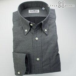国産オリジナル長袖ドレスシャツ ボタンダウンカラー ビエラ杢グレー