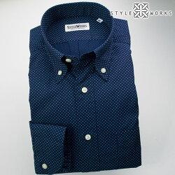 国産オリジナル長袖ドレスシャツ ボタンダウンカラー ネイビープリントミニドット 製品洗い加工