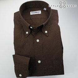 国産オリジナル長袖ドレスシャツ ボタンダウンカラー ブラウンプリントミニドット 製品洗い加工