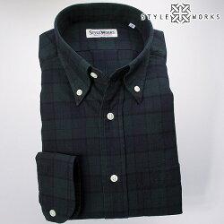 国産オリジナル長袖ドレスシャツ ボタンダウンカラー 製品洗い加工 ブラックウォッチ ツイルコットン
