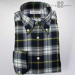 国産長袖ドレスシャツ ボタンダウンカラー 製品洗い加工 タータンチェック ホワイト・グリーン・イエロー・ネイビー 綿ツイル