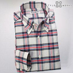 国産長袖ドレスシャツ ボタンダウンカラー 製品洗い加工 タータンチェック コットンオックスフォード トリコロール
