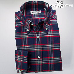 国産長袖ドレスシャツ ボタンダウンカラー 製品洗い加工 タータンチェック コットンオックスフォード ブルー・レッド・グレー