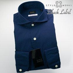 国産オリジナル長袖ドレスシャツ カッタウェイワイドカラー 製品洗い加工 ネイビーミニドットプリント ALBINI生地