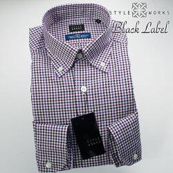 国産オリジナル長袖ドレスシャツ ボタンダウンカラー 製品洗い加工 シェパードチェック・オックスフォード ネイビー・パープル
