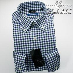 国産オリジナル長袖ドレスシャツ ボタンダウンカラー 製品洗い加工 シェパードチェック モスグリーン・ネイビー