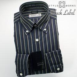 国産オリジナル長袖ドレスシャツ ボタンダウンカラー 製品洗い加工 カスケードストライプ ネイビーパープル getzner生地