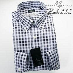 国産オリジナル長袖ドレスシャツ ボタンダウンカラー 製品洗い加工 オーバーチェック パウダーパープル・シルバー getzner生地