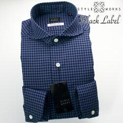 国産オリジナル長袖ドレスシャツ カッタウェイワイドカラー 微起毛ALBINI生地 ネイビー・ブルー シェパードチェック