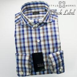 国産オリジナル長袖ドレスシャツ カッタウェイワイドカラー 製品洗い加工 トーンオントーンチェック ブルー・グレー・ホワイト