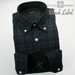 国産オリジナル長袖ドレスシャツ ボタンダウン 製品洗い加工 ブラックウォッチ ツイルコットン