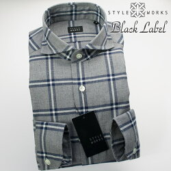国産オリジナル長袖ドレスシャツ カッタウェイワイドカラー 起毛コットン オーバーウィンドウチェック グレー