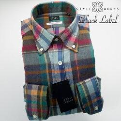 国産オリジナル長袖ドレスシャツ ボタンダウン ウール・コットン マドラスチェック マルチカラー