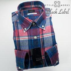 国産オリジナル長袖ドレスシャツ ボタンダウン ウール・コットン マドラスチェック レッド・ブルー・グレー