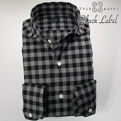国産オリジナル長袖ドレスシャツ カッタウェイワイドカラー 微起毛コットンツイル ブラック・グレー ラージギンガムチェック