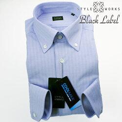 国産オリジナル長袖ドレスシャツ クールマックスファブリック ボタンダウンカラー サックスブルーヘリンボーン