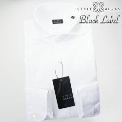 1705 国産オリジナル長袖ドレスカジュアルシャツ カッタウェイワイドカラー ホワイト カラミ織 製品洗い加工