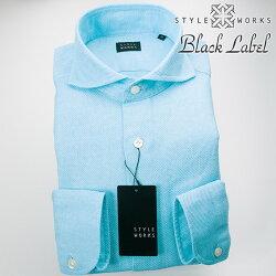 1705 国産オリジナル長袖ドレスカジュアルシャツ カッタウェイワイドカラー シャンブレースカイブルー カラミ織 製品洗い加工