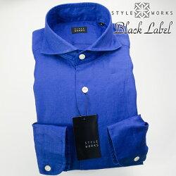 1705 国産オリジナル長袖ドレスカジュアルシャツ カッタウェイワイドカラー リネン100% マリンブルー 製品洗い加工