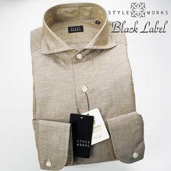 1705 国産オリジナル長袖ドレスカジュアルシャツ カッタウェイワイドカラー コットンリネン グレージュ 製品洗い加工