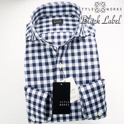 1705 国産長袖ドレスカジュアルシャツ カッタウェイワイド コットンリネン ホワイト・ネイビー ブロックチェック 製品洗い加工