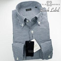 1705 国産長袖ドレスカジュアルシャツ カッタウェイワイド コットンリネン ネイビーギンガムチェック 製品洗い加工