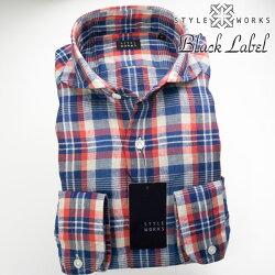 1705 国産長袖ドレスカジュアルシャツ カッタウェイワイドカラー リネン100% 製品洗い加工 レッド・ブルー マドラスチェック