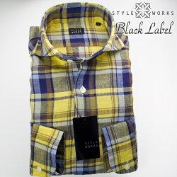 1705 国産長袖ドレスカジュアルシャツ カッタウェイワイドカラー リネン100% 製品洗い加工 イエロー マドラスチェック