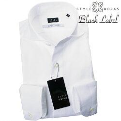 1707 国産長袖ドレスカジュアルシャツ カッタウェイワイドカラー ホワイト バスケット・メッシュ織 カンクリーニ