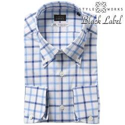 1810 国産長袖ドレスカジュアルネルシャツ ボタンダウンカラー トーマスメイソン スリムフィット タッタソールチェック ブルー
