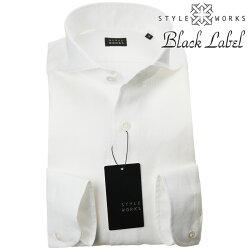 国産ドレスカジュアルシャツ カッタウェイワイド スリムフィット 無地 ホワイト 白 麻・リネン100% 1906