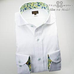 1705 国産長袖ドレスシャツ 純綿 スリムフィット カッタウェイワイドカラー ジャガード織トロピカルデザイン ホワイトメンズ  fs3gm