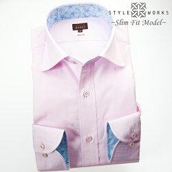 1705 国産長袖ドレスシャツ 純綿 スリムフィット ワイドカラー ピンク ジャガード織ミニフラワードットメンズ  fs3gm