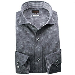 1705 国産長袖ドレスシャツ 純綿 スリムフィット カッタウェイワイドカラー インディゴシャンブレー リーフ柄ジャガードメンズ  fs3gm