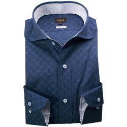 1705 国産長袖ドレスシャツ 純綿 スリムフィット カッタウェイワイドカラー ダークネイビー ジャガード菱型柄メンズ  fs3gm