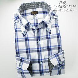 1704 国産綿100%長袖ドレスシャツ スリムフィット ボタンダウンカラー ブルー・ネイビー トーンオントーンウィンドウチェックメンズ  fs3gm