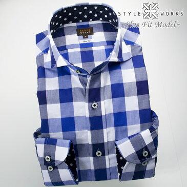 C-1705 国産長袖ドレスシャツ 綿100 スリムフィット カッタウェイワイドカラー オーバーブロックチェック ブルー ネイビーメンズ fs3gm