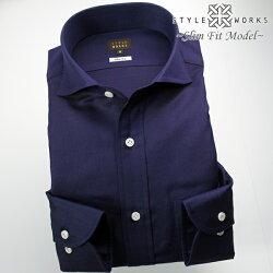 1705 国産長袖ドレスシャツ コットンリネン スリムフィット カッタウェイワイドカラー ネイビーツイルメンズ  fs3gm