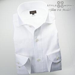 1705 国産長袖ドレスシャツ コットンリネン スリムフィット カッタウェイワイドカラー ホワイトツイルメンズ  fs3gm