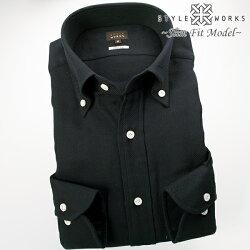1704 国産長袖綿麻ドレスシャツ スリムフィット ボタンダウンカラー ブラックバスケット織チェック柄メンズ  fs3gm