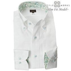 国産長袖ドレスシャツ スリムフィット ボタンダウン ホワイト ジャガード織柄 雲 燕 空 メンズ  fs3gm
