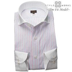 1903 国産長袖純綿ドレスシャツ スリムフィット クレリックカッタウェイワイド オルタネイトストライプメンズ  fs3gm